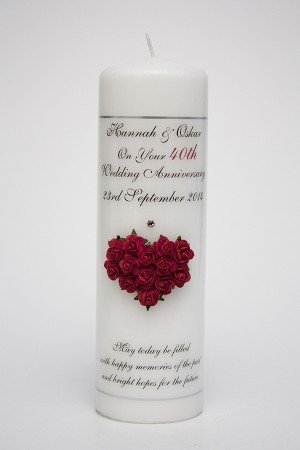 40th Wedding Anniversary Heart Of Flowers Red
